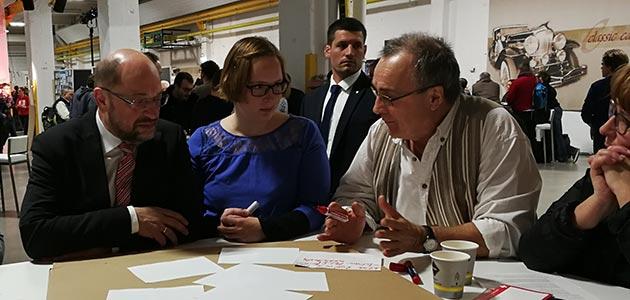 SPD-Dialog in Nürnberg: Martin Schulz, Hannah Fischer, Josef Götz