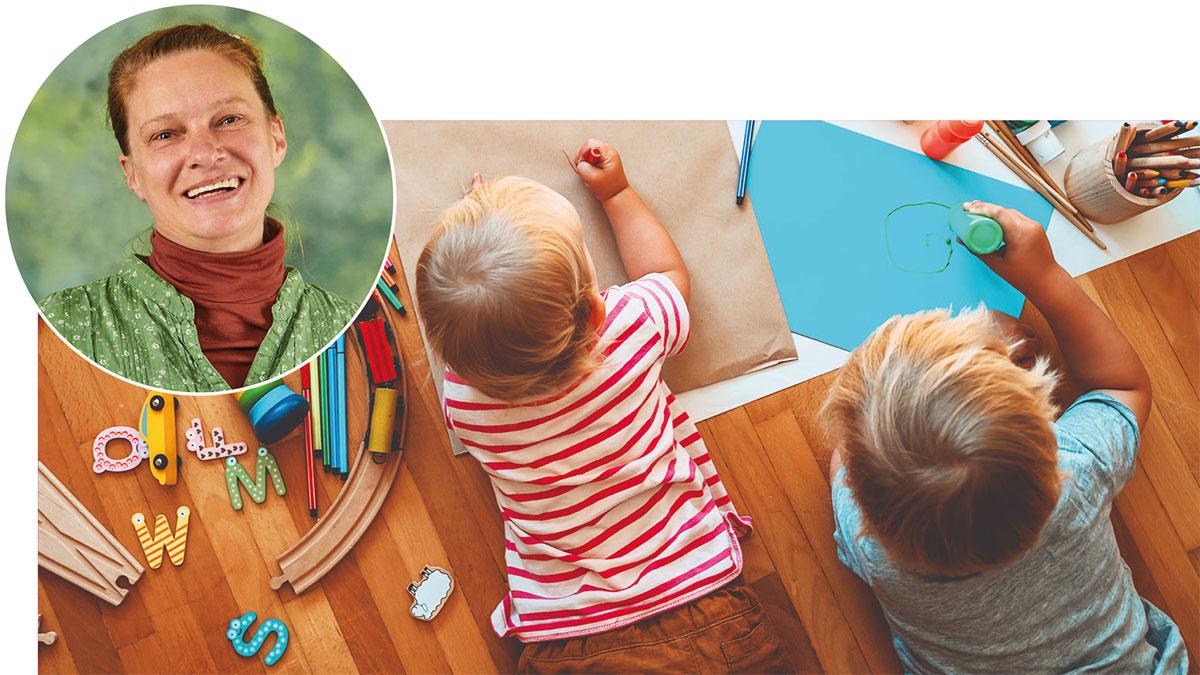 Birte-Daniela Künzel und spielende Kinder