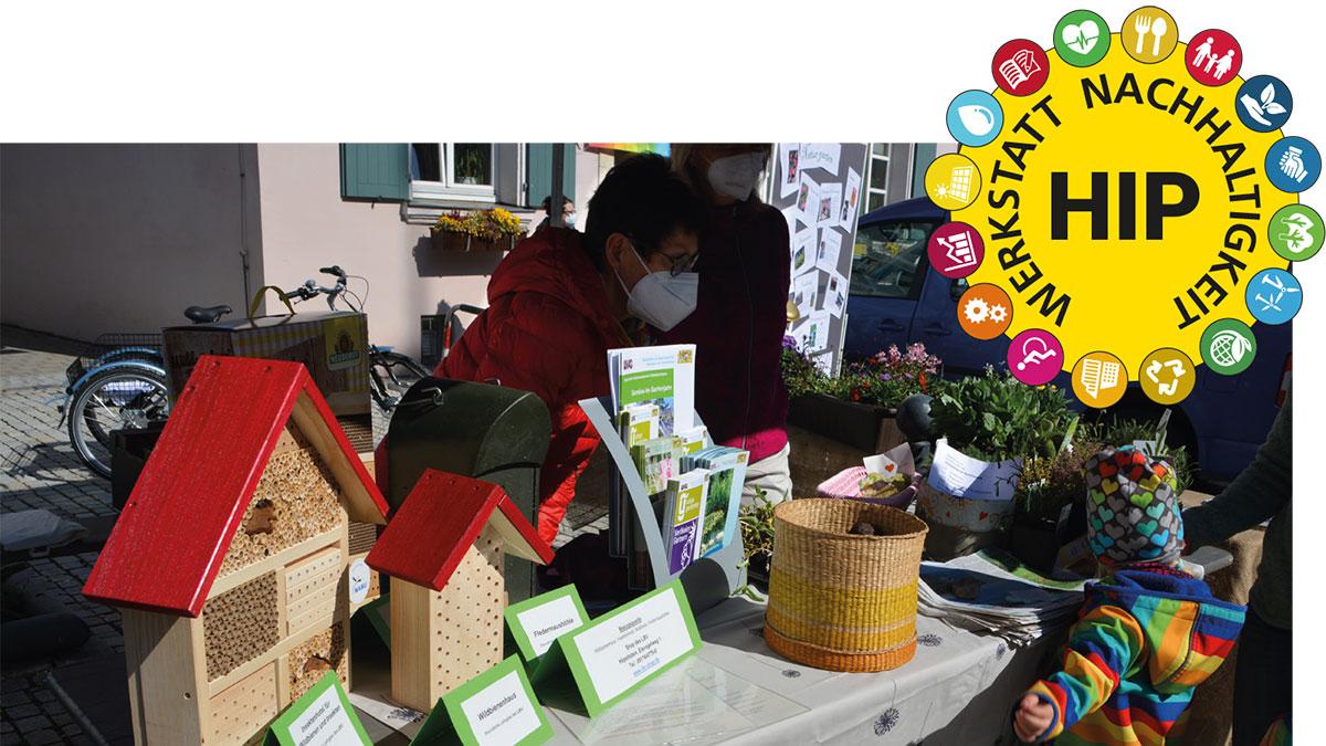 Bauernmarktstand Hip-Werkstatt Nachhaltigkeit