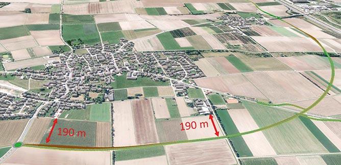 """Visualisierung der Variante """"Nordumfahrung"""" um Meckenhausen/Sindersdorf"""